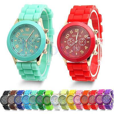 Colorful Unisex Geneva Silicone Jelly Gel Quartz Analog Sports Wrist Watch New