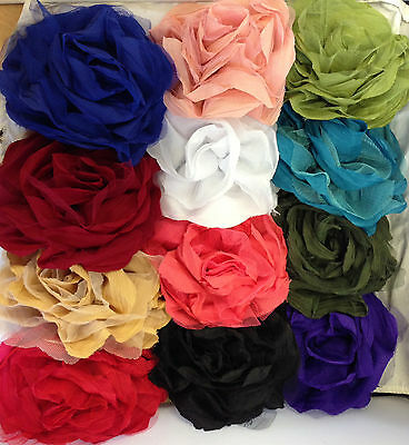 Gorgeous Big Fabric Rose Fascinator on Clip and Corsage Pin - 12 Vibrant Colours