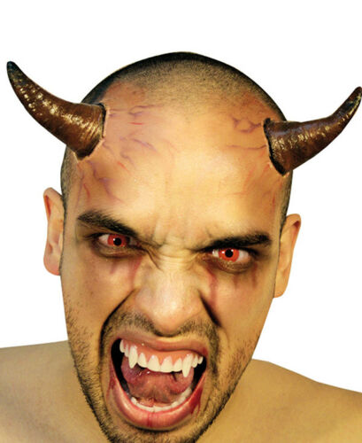 DEVIL HORNS TWO STICK ON LATEX APPLICATION HALLOWEEN HORROR