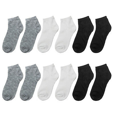 Toddler Ankle Socks Size 12-24 Months White Grey Blue Unisex Lot of 10 Pairs