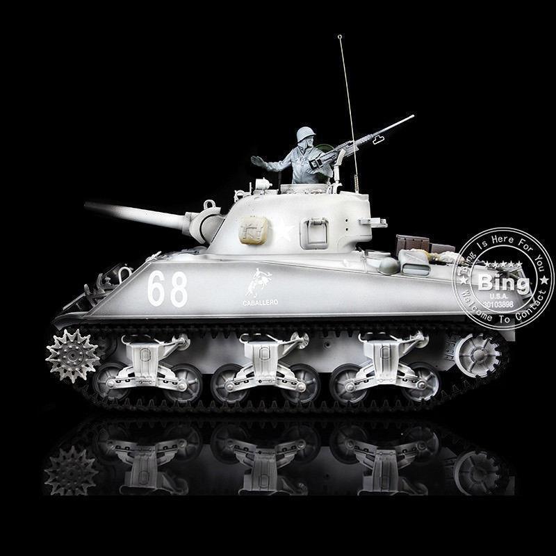 1 16 Scale 2.4Ghz HengLong Plastic Snow USA M4A3 Sherman RC RTR Tank Model 3898W