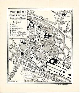 41 Vendôme 1912 plan ville orig. + guide (9 p.) Capitainerie Rocxheambeau Mail F1R5MHP8-08041705-209176544