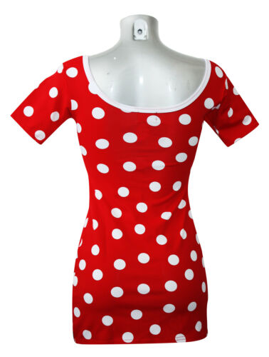 Red And White Polka Dots Long TShirt Top Tee Fancy Dress 6-10