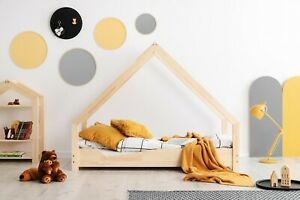 Letto matrimoniale per bambini Letto casa legno Casa con il cassetto Naturale