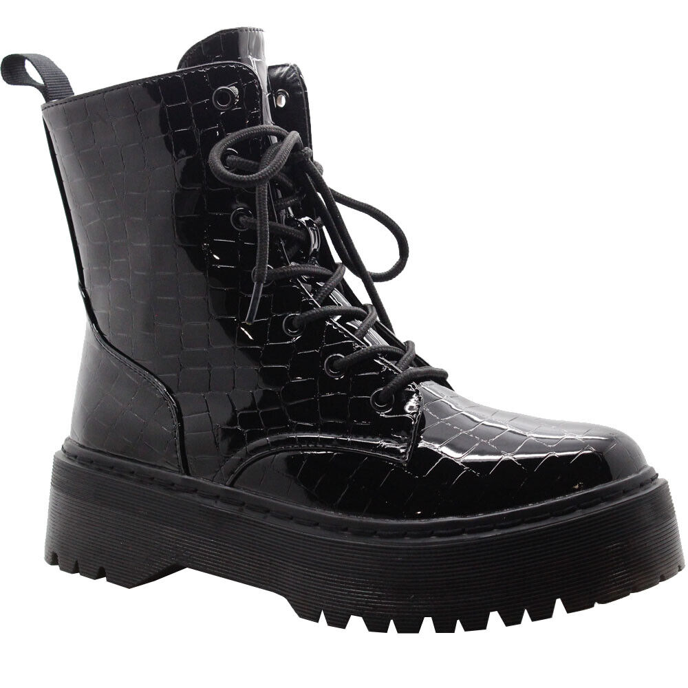 Womens Ankle Chunky Platform Boots Ladies Zip Diamante Croc Shiny Shoes Size 3-8