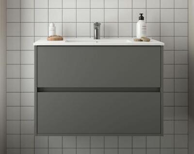 Bathroom Vanity Bathroom Furniture Unit 800 Mm Wall Hung Mounted With Basin Gra Ebay