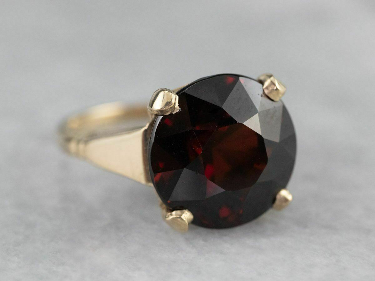 Garnet Gold Solitaire Ring - image 1