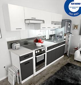 Küchenzeile Küche Einbauküche 2,4m - modern grau weiss AB LAGER ...