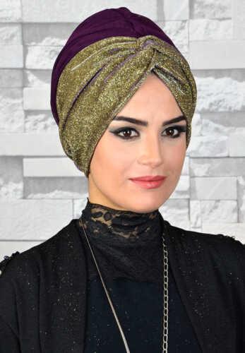 HZ57 Fertig Kopftuch Hazir Simli Tül Abiye Bone Türban Sal Tesettür Hijab