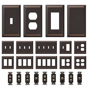 Oil-Rubbed-Bronze-Wall-Switch-Plate-Outlet-Cover-Toggle-Rocker-GFI-Duplex-Outlet