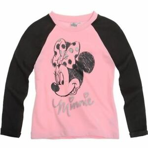 DISNEY-sweat-pull-MINNIE-4-6-ou-8-ans-rose-gris-fonce-anthracite-haut-NEUF