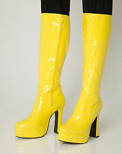 Yellow Go Go Boots Women's Retro Knee High Platform Boots - Size 10 UK - EU 44