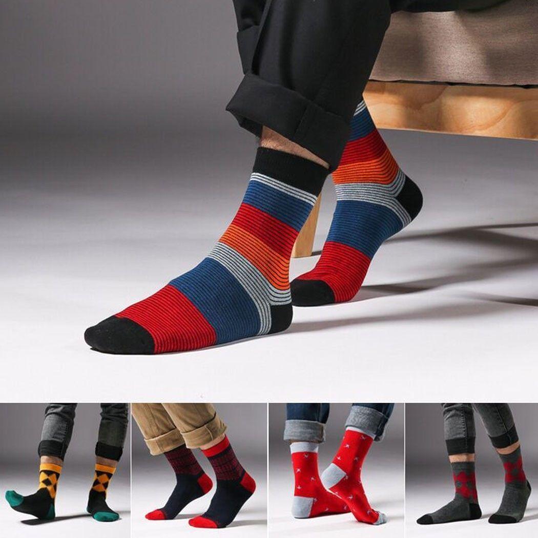 1Pairs Mens Hot Socks Lot Cotton Knit Warm Rainbow Striped Casual Dress S kpls