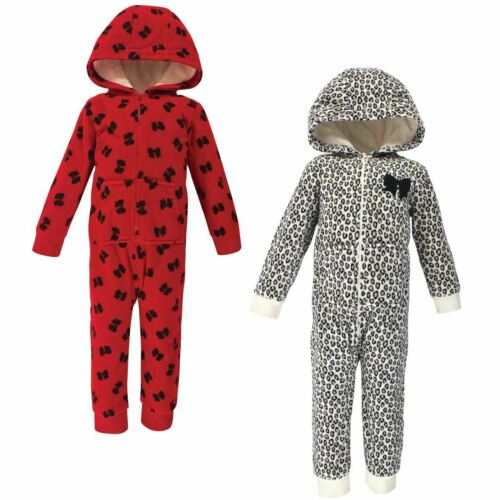 Little Treasure Girl Toddler Fleece Jumpsuits 2pk Leopard Bow