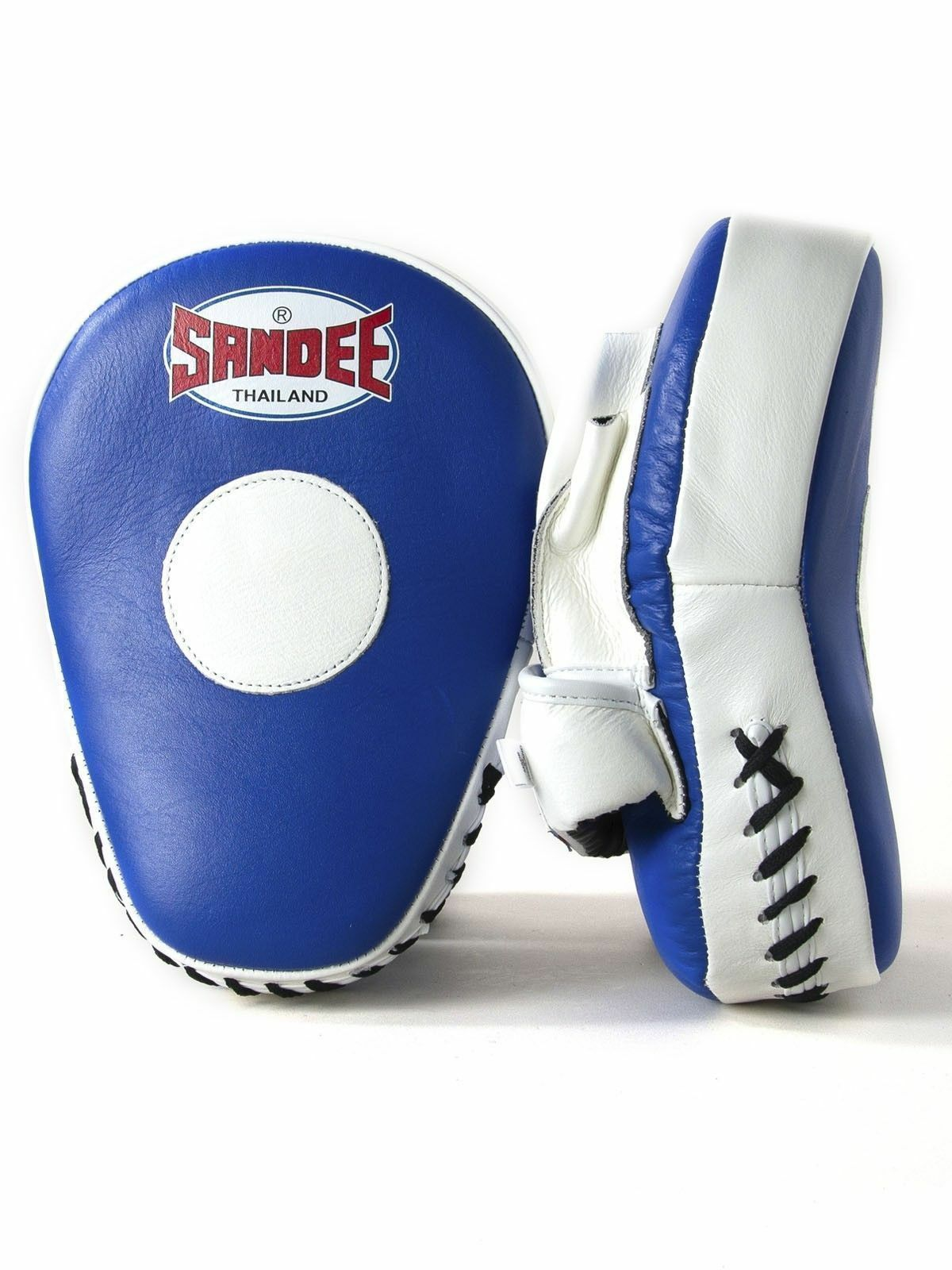 SANDEE in Pelle Blu & Bianco Curvo Muay Thai Boxe Focus Mitts