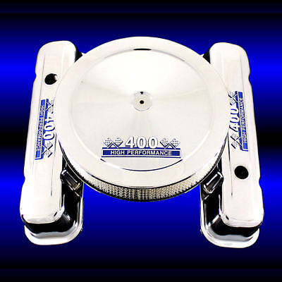 Valve Covers Tall For Pontiac 400 Engines Chrome With 400 HP Emblems Blue