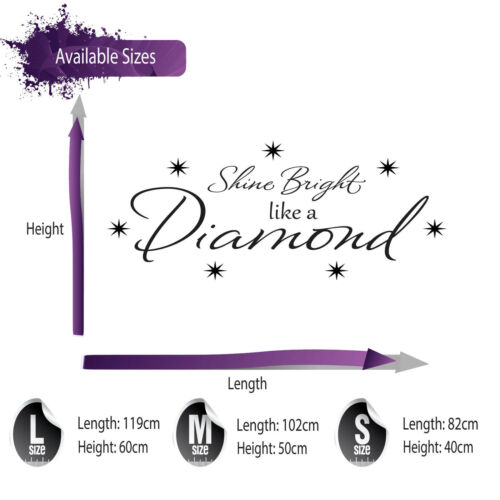 RIHANNA SHINE BRIGHT LIKE A DIAMOND WALL STICKER QUOTE WALL ART DECAL X122