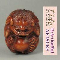 "1940's Japanese handmade Boxwood Wood Netsuke ""FOO DOG LION"" Figurine Carving  S"