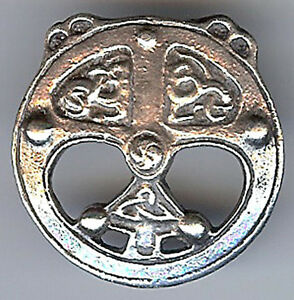 ANTIQUE STERLING SILVER ORNATE CELTIC CIRCLE PIN