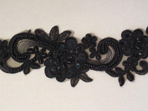 Noir perlé orné de sequins dentelle Applique Organza Perlé Floral Motif de Dentelle par pièce