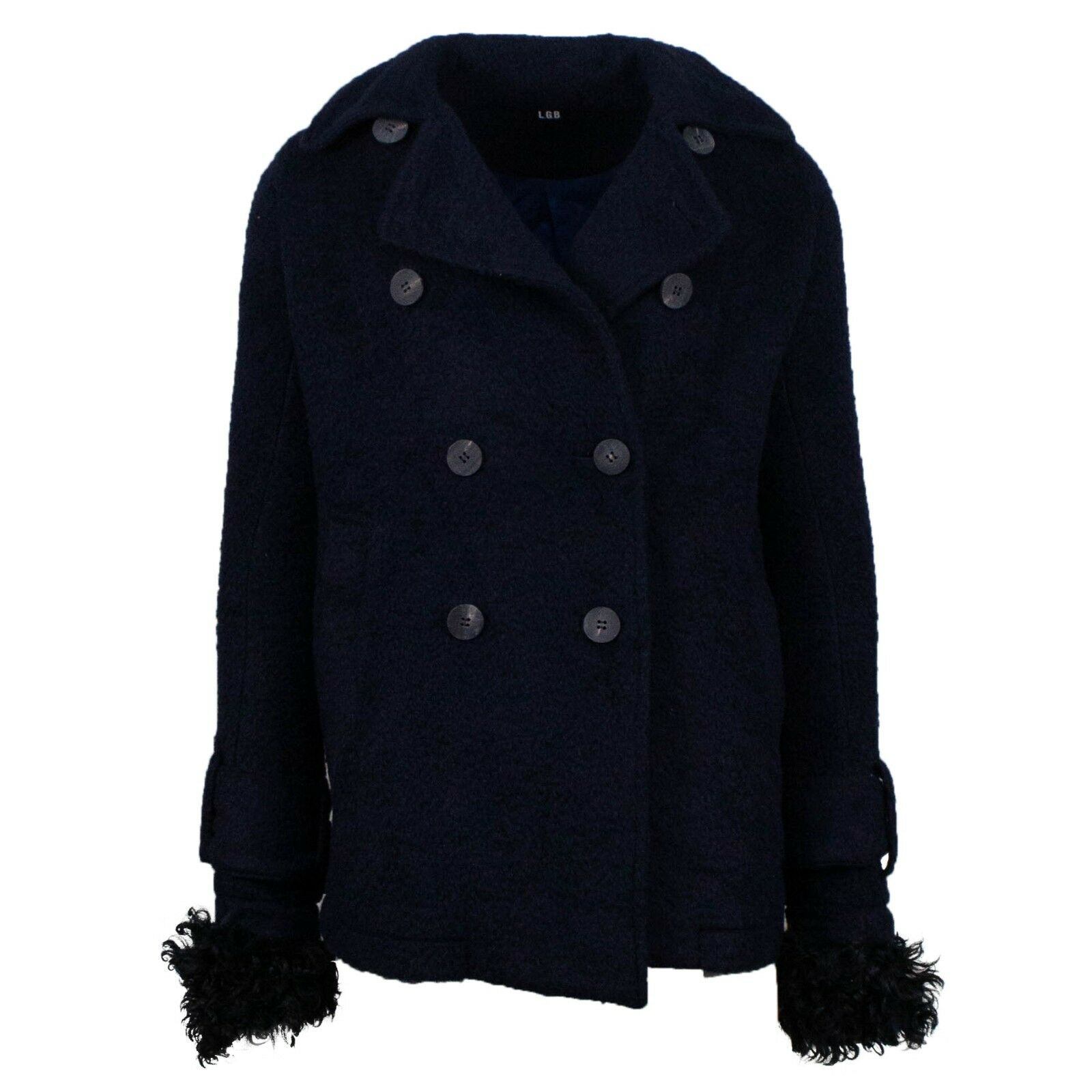 NWT L.G.B. Navy bluee Textured Double Breasted Cotton Blend Pea Coat Size 1  2030