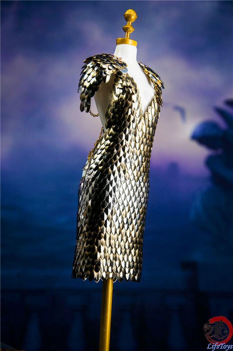 Handmade 1 6th Figure Clothes Jungle queen armor dragon scale metal armor dress
