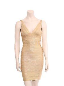 e701c9d2d32c Image is loading HERVE-LEGER-Metallic-Bandage-Dress