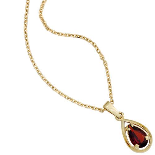 Anhänger mit Granat glatt rot Tropfen 333 Gold Gelbgold Halsschmuck Damen