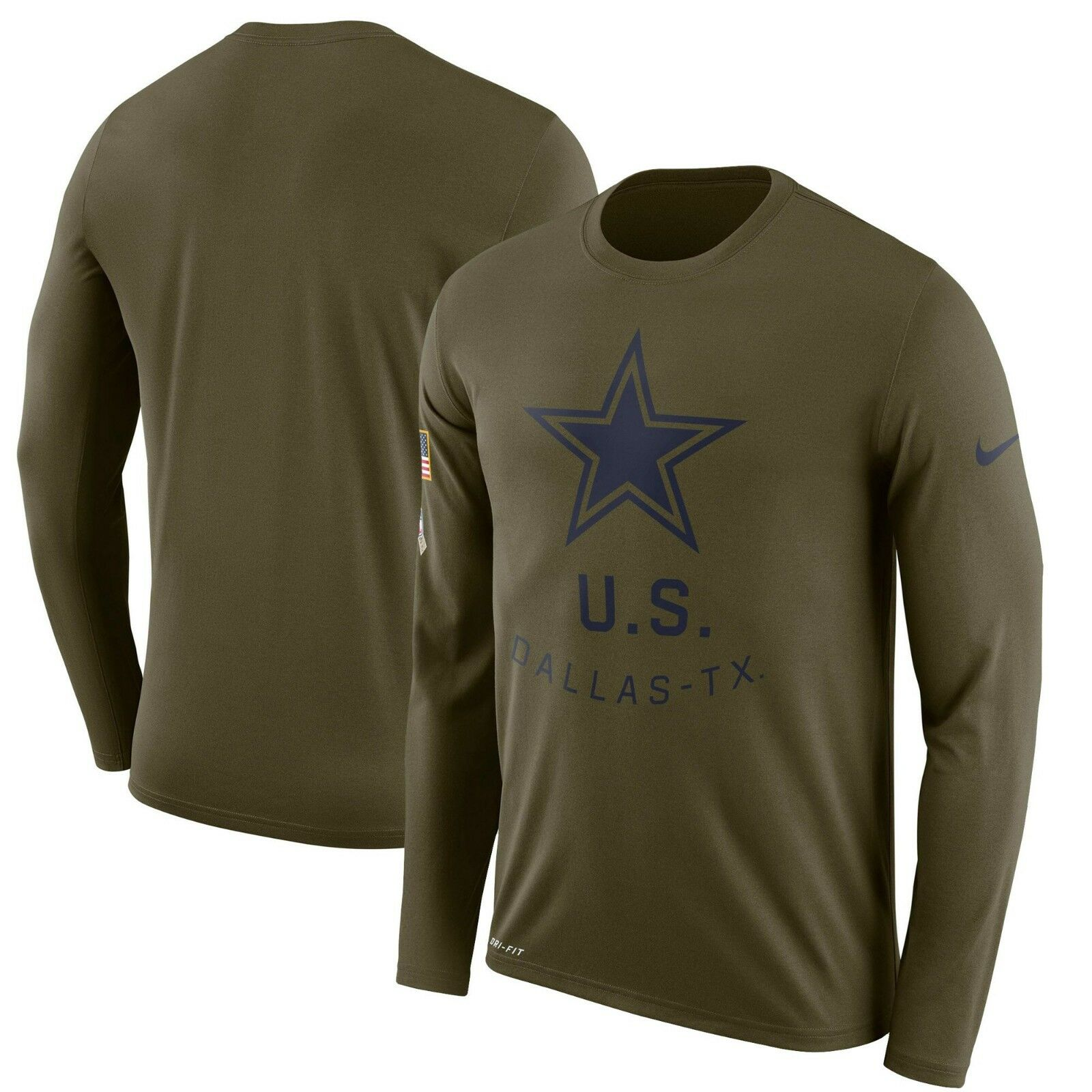 483ffbaf0 Dallas Cowboys Nike Salute to Service Sideline Legend Long Sleeve Tee Shirt