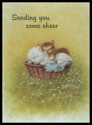 526-MSA Giordano CAT DOG KITTEN PUPPY /'RELIGIOUS/' Get Well Greeting Card NEW