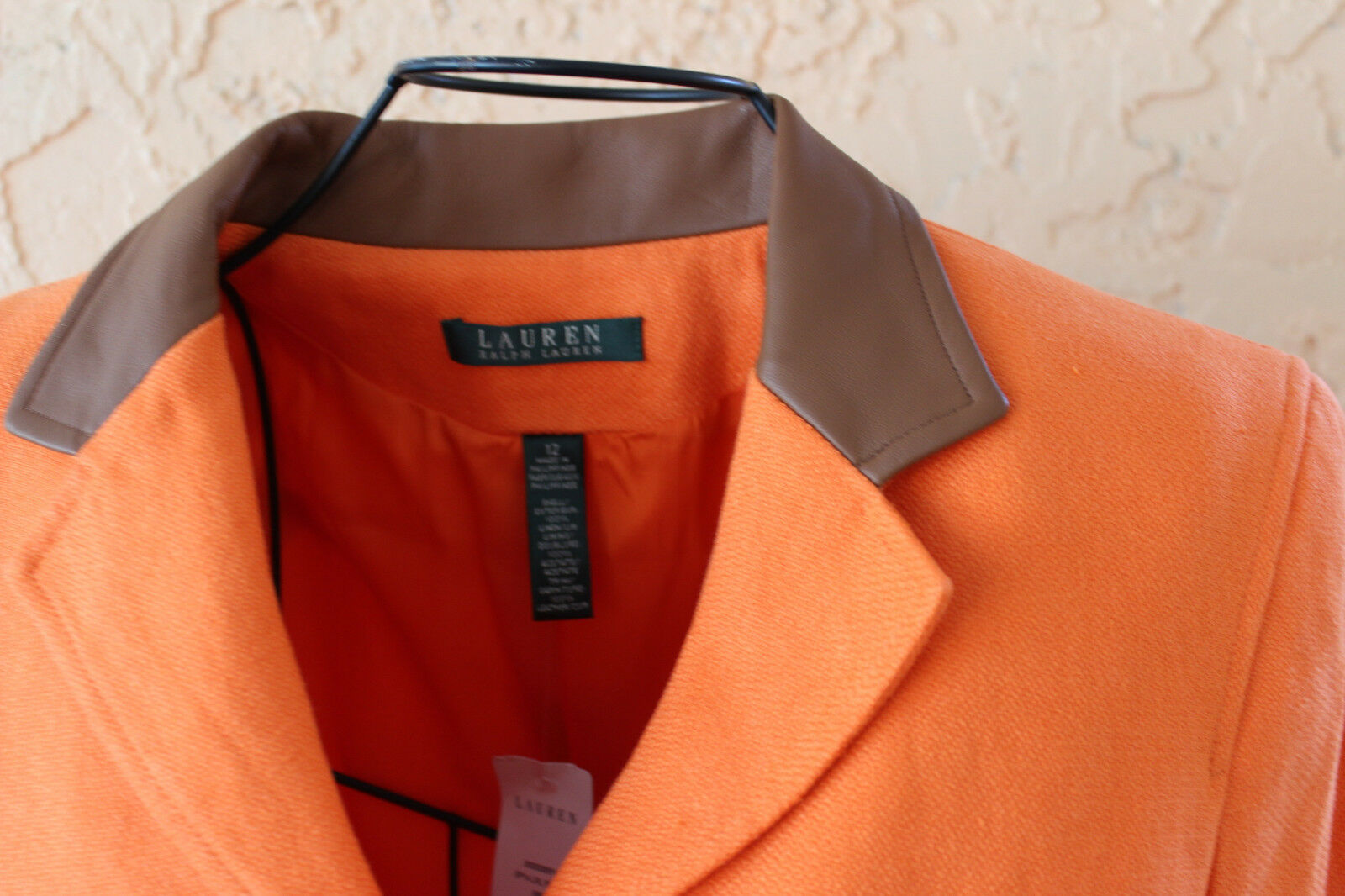 NWT Lauren Ralph Lauren orange 100% Linen Women's Blazer Sz 12 MSRP  260.00