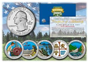 2019-America-The-Beautiful-COLORIZED-Quarters-U-S-Parks-5-Coin-Set-w-Capsules