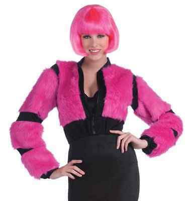 Annie May Furry Jacket Pink Rave Anime Fancy Dress Halloween Costume Accessory