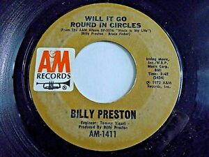 Billy-Preston-Will-It-Go-Round-In-Circles-Blackbird-45-1972-A-amp-M-Vinyl-Record