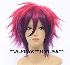 338 No Game No Life Sora rose red mix purple Short Cosplay Wig