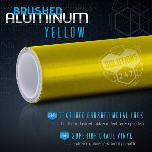 Yellow Brushed Aluminum Metallic Vinyl Film Wrap Sticker Decal Bubble Free Air