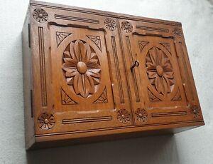 Antique-Edwardian-stylish-large-wooden-box-intricate-carving-design-key-works
