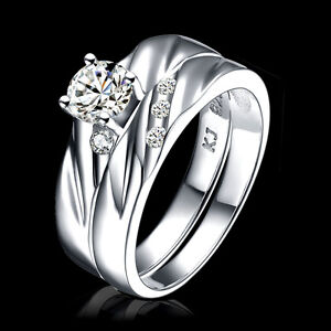 women 925 silver rhodium pl engagement wedding rings set With womens size 12 wedding rings