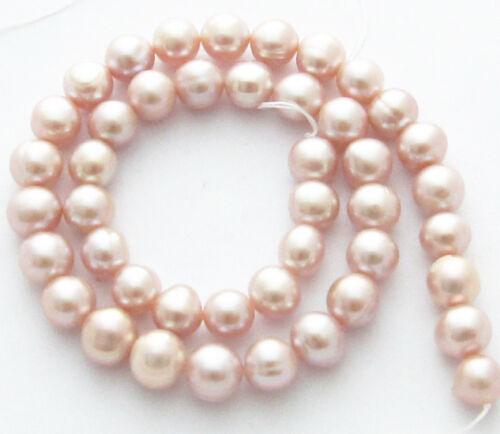 "Freshwater Pearl Light Pink Mauve 9-10mm Potato Round Beads 15/"" Strand W56 A"