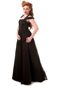 10 Maxi Abbigliamento Steampunk Nero Abito 14 12 stile 16 Gothic corsetto bandito T1qwZ