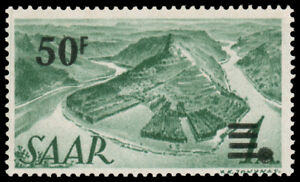 Saar-187a-MNH-CV-200-Mi-238-Z-I-1947-50fr-ON-1m-GRAY-GREEN-PRINTING-I