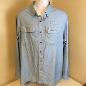 Habit-Mens-Shirt-Vented-Fishing-Camp-Casual-Hiking-Blue-Large-Free-Shipping