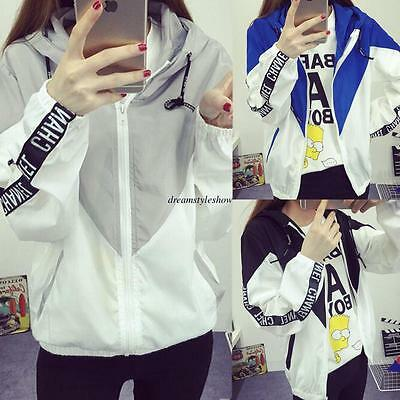 Korean Women College Casual Loose Hooded Sweatshirt Jacket Short Coat Outwear