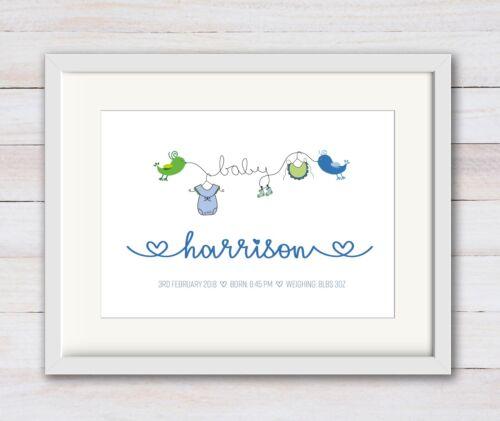 BOY New Birth Newborn Personalised Name Print Christening Gift Nursery BABY