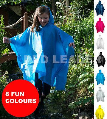 Splashmacs Kids Plastic Poncho Waterproof Festival Hooded Cape SC019