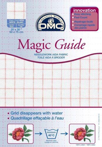 DMC Magia Guía Aida Blanc 50cms X 75cms DC28MG Blanc-Blanc Grandes Pack