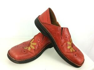 Womens-Josef-Seibel-Floral-Red-Leather-Shoes-Size-EU-40-UK-6-5