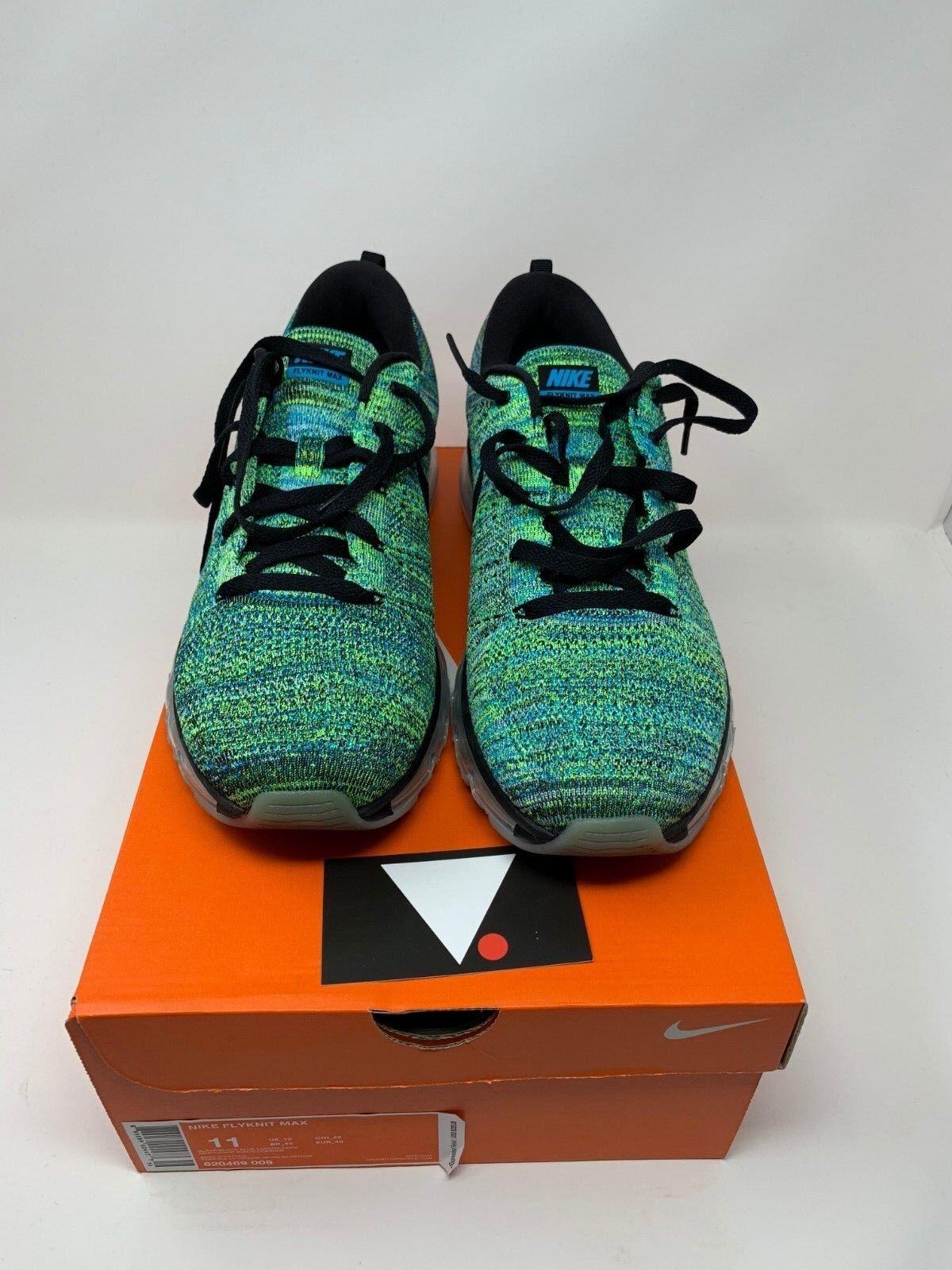 0147b6f466 Nike Flyknit Max Black bluee Lagoon 620469 009 OFF WHITE REACT VAPORMAX