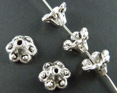 130pcs Silver//Gold Tone Nice Flower Bead Caps 9x6mm 1059