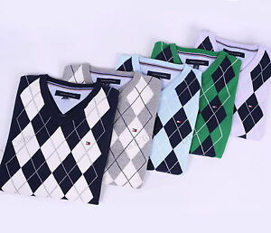 NEW-TOMMY-HILFIGER-MEN-GOLF-STYLE-CLASSIC-ARGYLE-V-NECK-SWEATER-FREE-SHIPPING